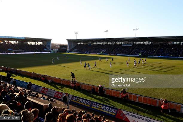 A general view inside the stadium during The Emirates FA Cup Third Round match between Shrewsbury Town and West Ham United at Montgomery Waters...