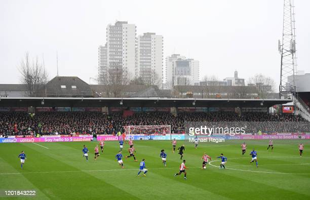 General view inside the stadium during the FA Cup Fourth Round match between Brentford FC and Leicester City at Griffin Park on January 25, 2020 in...