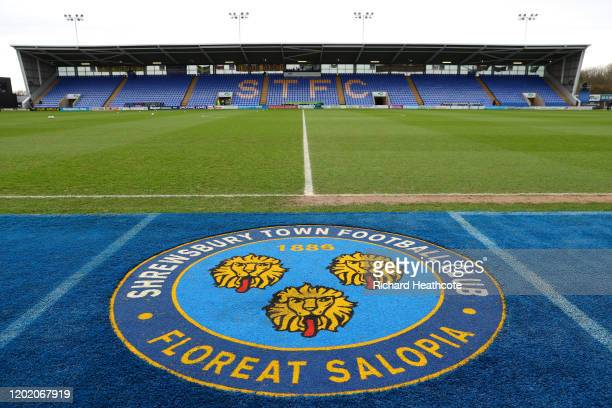 General view inside the stadium during the FA Cup Fourth Round match between Shrewsbury Town and Liverpool at New Meadow on January 26 2020 in...