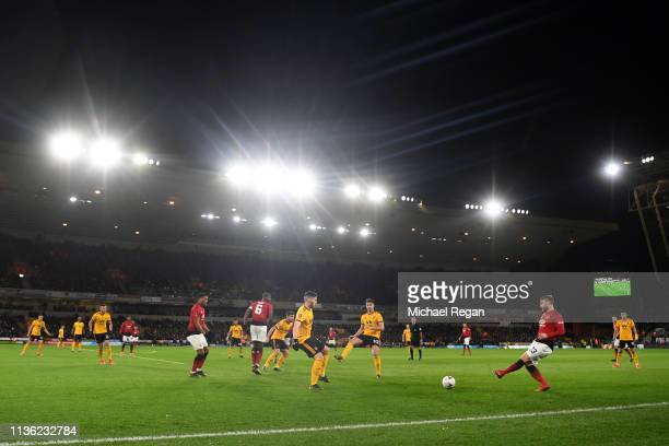 A general view inside the stadium during the FA Cup Quarter Final match between Wolverhampton Wanderers and Manchester United at Molineux on March 16...