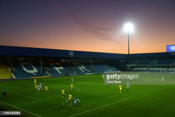 General view inside the stadium during the FA Cup Third Round match between Queens Park Rangers and Fulham at The Kiyan Prince Foundation Stadium on...