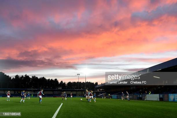 General view inside the stadium during the FA Women's Continental League Cup Semi Final match between Chelsea and West Ham United at Kingsmeadow on...