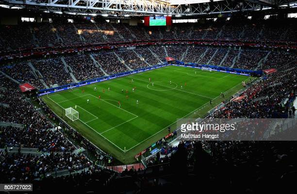 General view inside the stadium during the FIFA Confederations Cup Russia 2017 Final between Chile and Germany at Saint Petersburg Stadium on July 2...