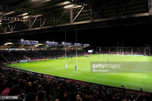 General view inside the stadium during the Gallagher Premiership Rugby match between Harlequins and Leicester Tigers at Twickenham Stoop on May 03...