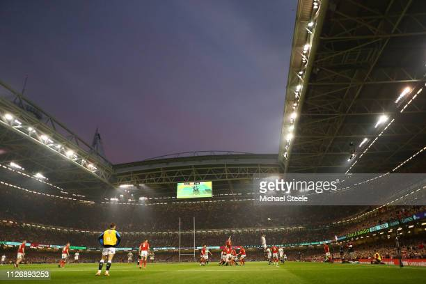 General view inside the stadium during the Guinness Six Nations match between Wales and England at Principality Stadium on February 23 2019 in...