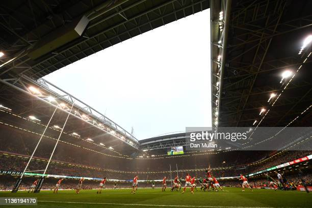General view inside the stadium during the Guinness Six Nations match between Wales and Ireland at Principality Stadium on March 16 2019 in Cardiff...
