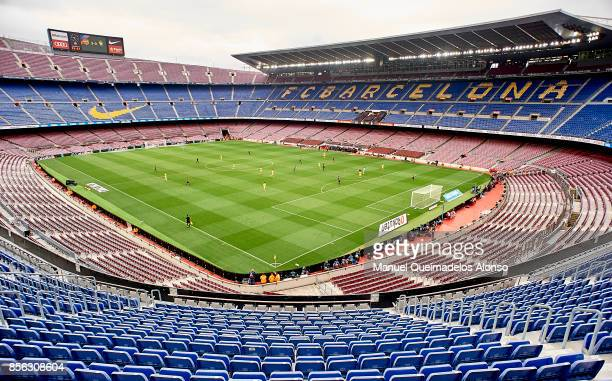 General view inside the stadium during the La Liga match between Barcelona and Las Palmas at Camp Nou on October 1, 2017 in Barcelona, Spain.