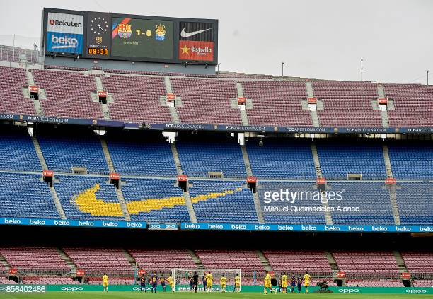 General view inside the stadium during the La Liga match between Barcelona and Las Palmas at Camp Nou on October 1 2017 in Barcelona Spain