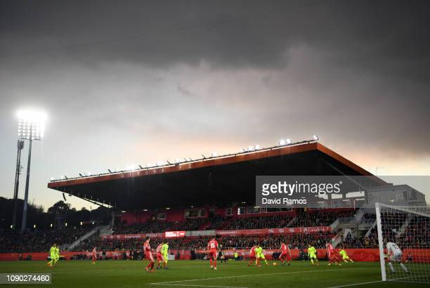 General view inside the stadium during the La Liga match between Girona FC and FC Barcelona at Montilivi Stadium on January 27 2019 in Girona Spain