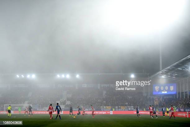 General view inside the stadium during the La Liga match between SD Huesca and Club Atletico de Madrid at Estadio El Alcoraz on January 19, 2019 in...