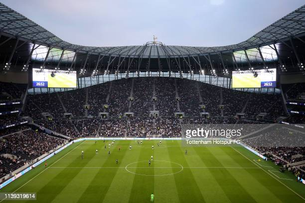 General view inside the stadium during the Legends match between Spurs Legends and Inter Forever at Tottenham Hotspur Stadium on March 30 2019 in...