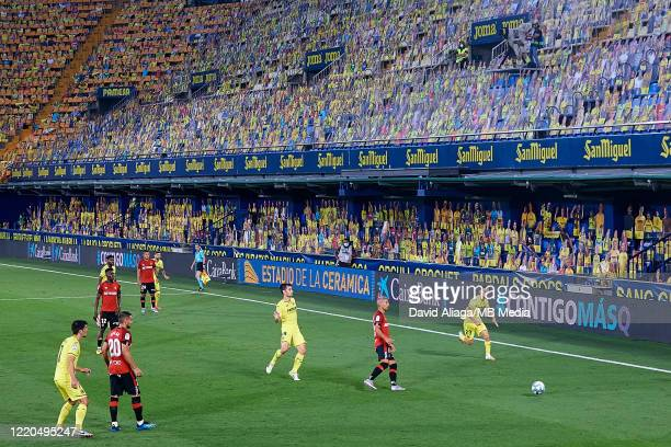 General view inside the stadium during the Liga match between Villarreal CF and RCD Mallorca at Estadio de la Ceramica on June 16 2020 in Villareal...