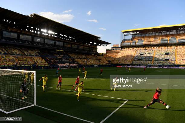General view inside the stadium during the Liga match between Villarreal CF and RCD Mallorca at Estadio de la Ceramica on June 16, 2020 in Villareal,...