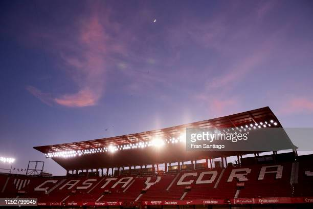 General view inside the stadium during the Liga match between Sevilla FC and Real Valladolid CF at Estadio Ramon Sanchez Pizjuan on June 26, 2020 in...
