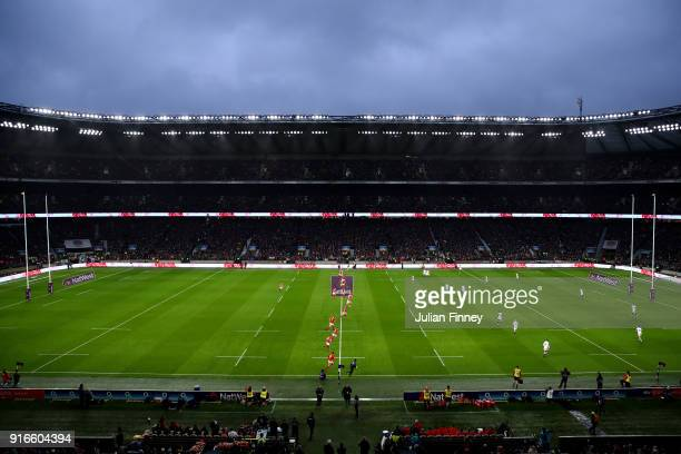 General view inside the stadium during the NatWest Six Nations round two match between England and Wales at Twickenham Stadium on February 10 2018 in...