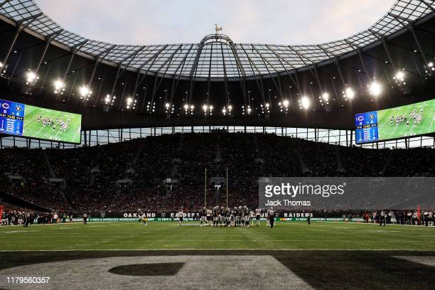 General view inside the stadium during the NFL match between the Chicago Bears and Oakland Raiders at Tottenham Hotspur Stadium on October 06, 2019...