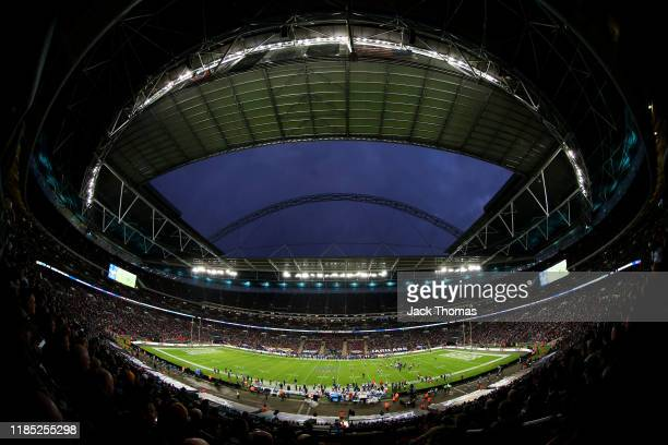 General view inside the stadium during the NFL match between the Houston Texans and Jacksonville Jaguars at Wembley Stadium on November 03, 2019 in...