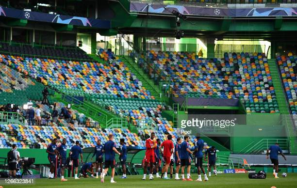 General view inside the stadium during the Olympique Lyonnais Training Session ahead of the UEFA Champions League match between Manchester City and...