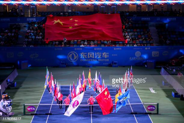 General view inside the stadium during the opening ceremony of 2019 Wuhan Open at Optics Valley International Tennis Center on September 22 2019 in...