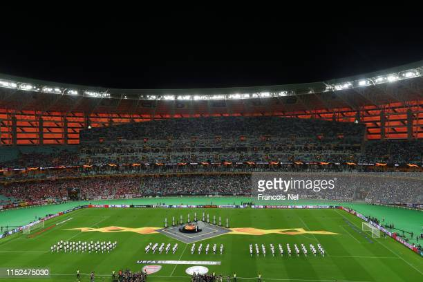 General view inside the stadium during the opening ceremony of the UEFA Europa League Final between Chelsea and Arsenal at Baku Olimpiya Stadionu on...