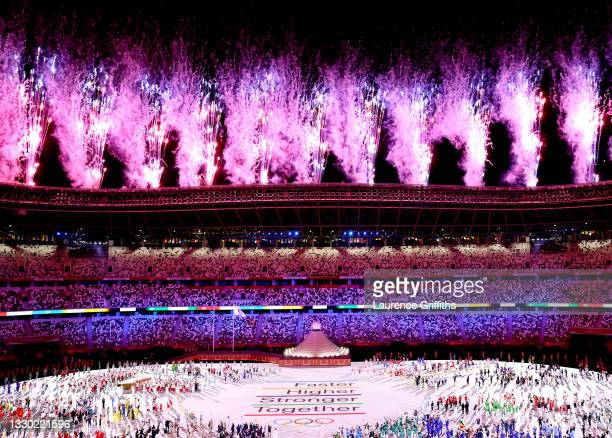 General view inside the stadium during the Opening Ceremony of the Tokyo 2020 Olympic Games at Olympic Stadium on July 23, 2021 in Tokyo, Japan.