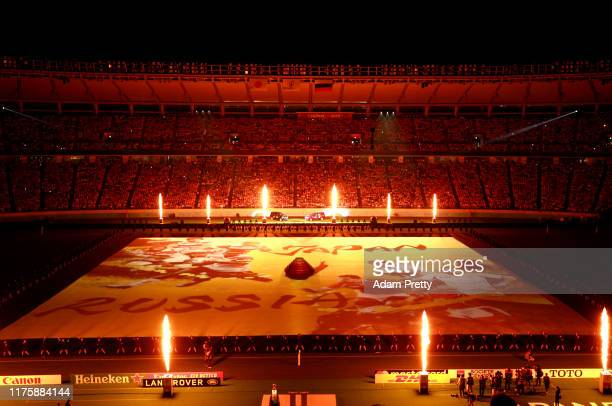 General view inside the stadium during the Opening Ceremony prior to the Rugby World Cup 2019 Group A game between Japan and Russia at the Tokyo...