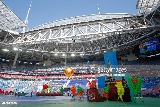 General view inside the stadium during the opening ceremony prior to the FIFA Confederations Cup Russia 2017 Group A match between Russia and New...
