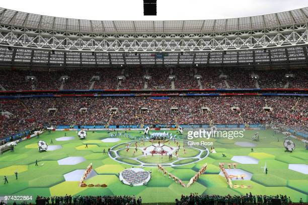 General view inside the stadium during the opening ceremony prior to the 2018 FIFA World Cup Russia Group A match between Russia and Saudi Arabia at...