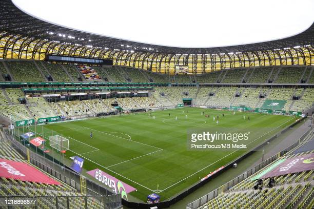 General view inside the stadium during the PKO Ekstraklasa match between Lechia Gdansk and Cracovia at Stadion Energa Gdansk on June 9, 2020 in...