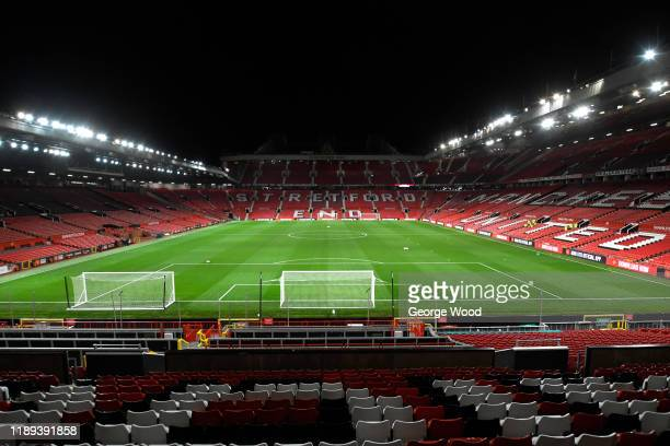 General view inside the stadium during the Premier League 2 match between Manchester United and Sunderland at Old Trafford on November 22, 2019 in...