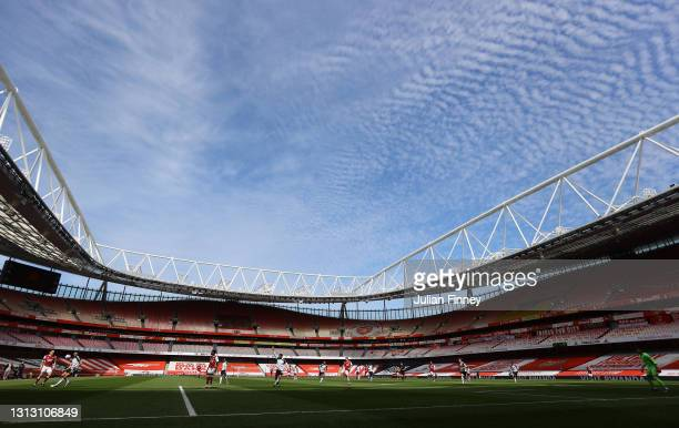 General view inside the stadium during the Premier League match between Arsenal and Fulham at Emirates Stadium on April 18, 2021 in London, England....