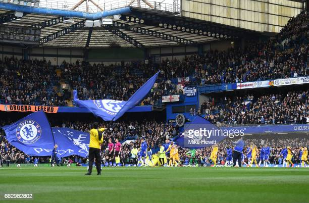 General view inside the stadium during the Premier League match between Chelsea and Crystal Palace at Stamford Bridge on April 1 2017 in London...