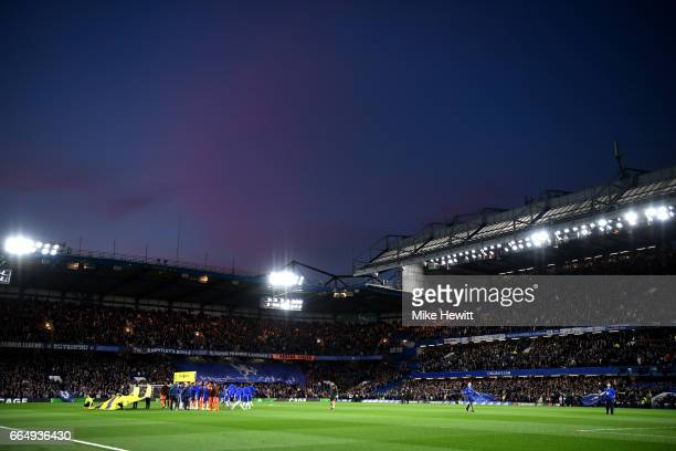 General view inside the stadium during the Premier League match between Chelsea and Manchester City at Stamford Bridge on April 5 2017 in London...