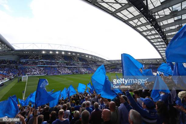 General view inside the stadium during the Premier League match between Brighton and Hove Albion and Manchester City at the Amex Stadium on August 12...