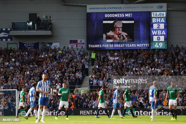 General view inside the stadium during the Premier League match between Brighton and Hove Albion and West Bromwich Albion at Amex Stadium on...