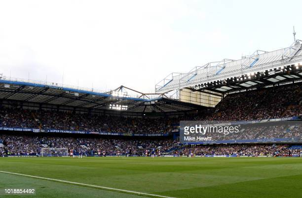 General view inside the stadium during the Premier League match between Chelsea FC and Arsenal FC at Stamford Bridge on August 18 2018 in London...