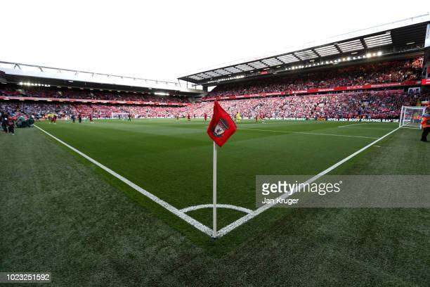 General view inside the stadium during the Premier League match between Liverpool FC and Brighton Hove Albion at Anfield on August 25 2018 in...