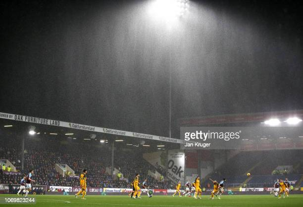 General view inside the stadium during the Premier League match between Burnley FC and Brighton Hove Albion at Turf Moor on December 8 2018 in...