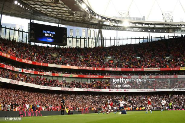 General view inside the stadium during the Premier League match between Arsenal FC and Tottenham Hotspur at Emirates Stadium on September 01 2019 in...