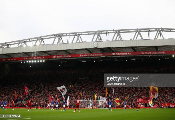 General view inside the stadium during the Premier League match between Liverpool FC and Leicester City at Anfield on October 05, 2019 in Liverpool,...