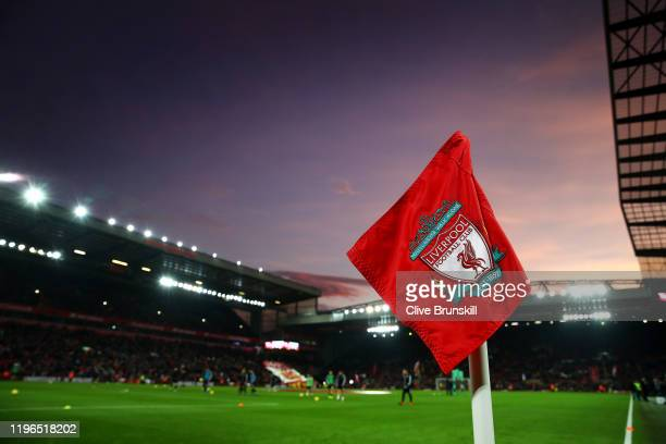 General view inside the stadium during the Premier League match between Liverpool FC and Wolverhampton Wanderers at Anfield on December 29, 2019 in...