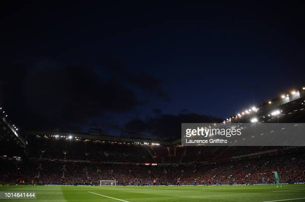 General view inside the stadium during the Premier League match between Manchester United and Leicester City at Old Trafford on August 10 2018 in...