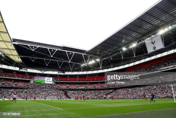 General view inside the stadium during the Premier League match between Tottenham Hotspur and Fulham FC at Wembley Stadium on August 18 2018 in...