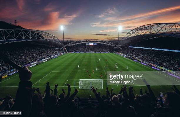 General view inside the stadium during the Premier League match between Huddersfield Town and Liverpool FC at John Smith's Stadium on October 20,...