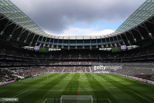 General view inside the stadium during the Premier League match between Tottenham Hotspur and Huddersfield Town at the Tottenham Hotspur Stadium on...