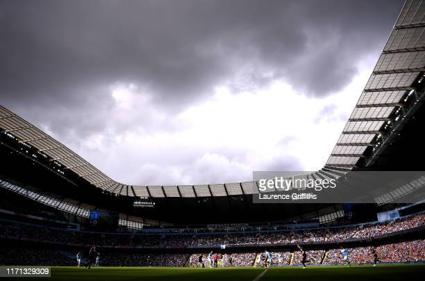General view inside the stadium during the Premier League match between Manchester City and Brighton Hove Albion at Etihad Stadium on August 31 2019...