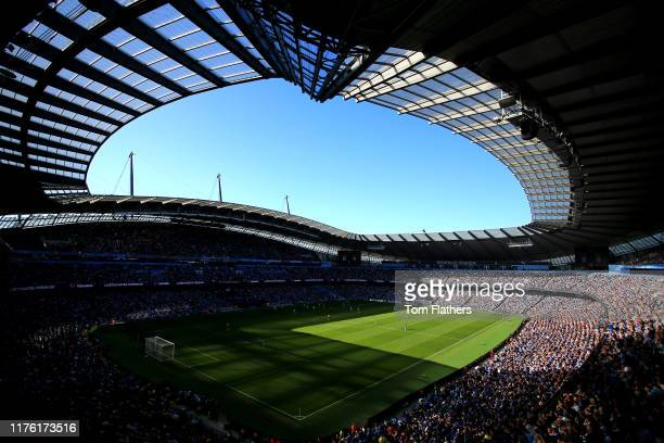 General view inside the stadium during the Premier League match between Manchester City and Watford FC at Etihad Stadium on September 21 2019 in...