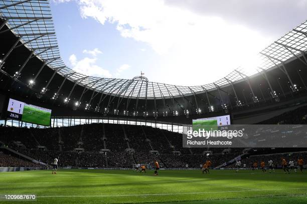 General view inside the stadium during the Premier League match between Tottenham Hotspur and Wolverhampton Wanderers at Tottenham Hotspur Stadium on...