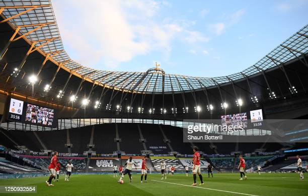 General view inside the stadium during the Premier League match between Tottenham Hotspur and Manchester United at Tottenham Hotspur Stadium on June...