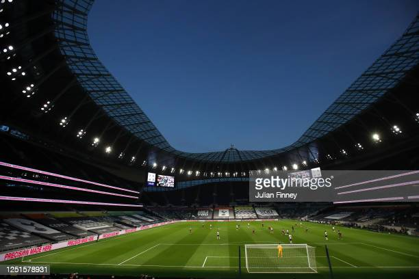 General view inside the stadium during the Premier League match between Tottenham Hotspur and West Ham United at Tottenham Hotspur Stadium on June 23...